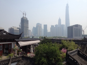 From the top of Yu (Yuan) Gardens, one can see the skyline rising ever higher in the distance. It really illustrates the different influences pulling at the city.